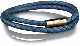 Leather Bracelet Gold 4MM - Blue