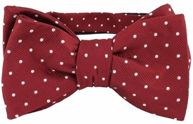 Self Tie Dots Burgundy/White