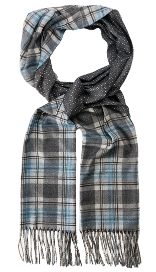 Check Wool Scarf | Mid Grey