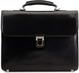 Small Briefcase - Black Leather