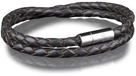 Leather Bracelet Steel 4MM - Dark Brown