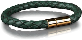 Leather Bracelet Gold 6MM - Dark Green