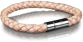 Leather Bracelet Steel 6MM - Natural