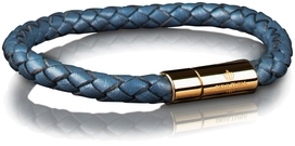 Leather Bracelet Gold 6MM - Blue