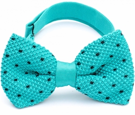 Stickad Fluga Teal Dots